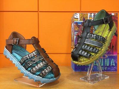 【阿典鞋店】**男鞋**Macanna** 麥坎納專櫃~馬雅系列~全新牛皮+羊皮氣墊式厚底涼鞋190030