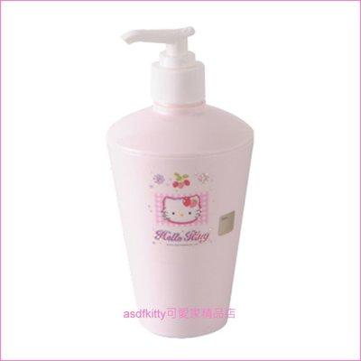asdfkitty可愛家~KITTY亮草莓擠壓空罐 空瓶~可裝沐浴乳 洗手乳 洗碗精~韓國