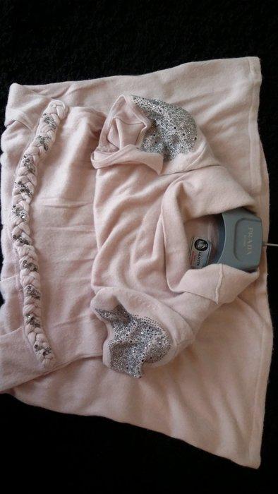 【LANVIN Boutique 】CASHMERE 粉裸膚色斯華洛世奇水鑽肩飾 垂墜領洋裝