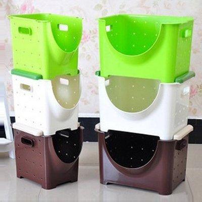 Color_me【A42】疊加腳座置物籃(小款下單區) 收納籃 玩具籃 零食 廚房 蔬果 鏤空 透氣 通風 洗漱 沐浴