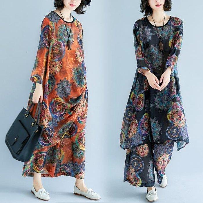 雪紡兩件套女民族風女裝夏裝寬鬆九分袖連身裙九分褲套裝