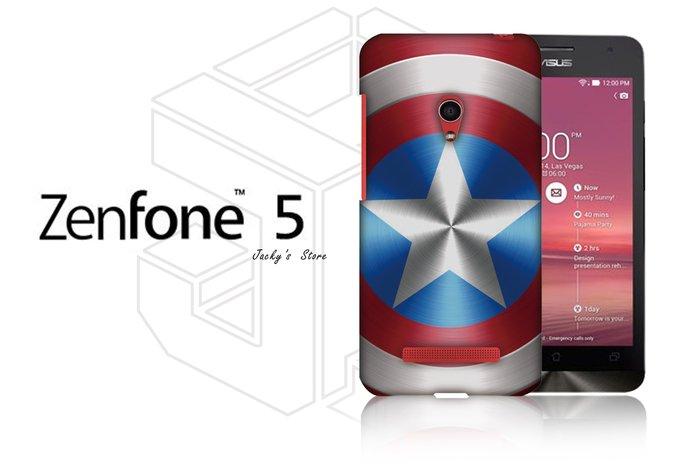 客製化 華碩5 Zenfone5 5吋 背蓋 保護殼 手機殼 個性化 美式 塗鴉 亮面硬殼 美國隊長 盾牌 【傑克小舖】