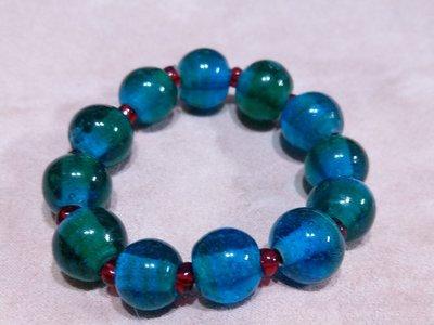 老琉璃珠一藍綠變色珠手串,手環,手鏈