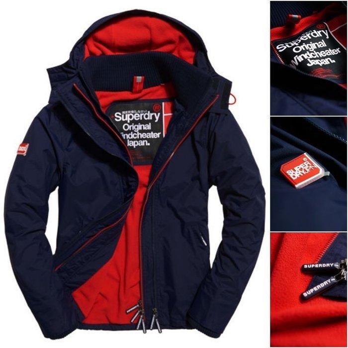極度乾燥 Superdry Arctic Windcheater 刷毛保暖 連帽 風衣 外套 防風® 深藍紅XS~3XL