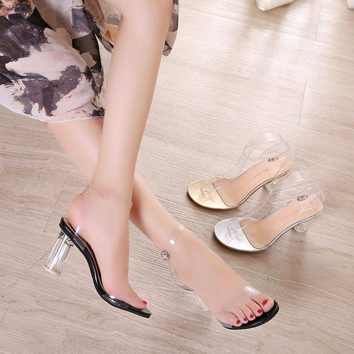 【夯夯夯】時裝涼鞋涼鞋女夏2018新款一字扣帶露趾粗跟小清新高跟鞋女透明水晶鞋休閒