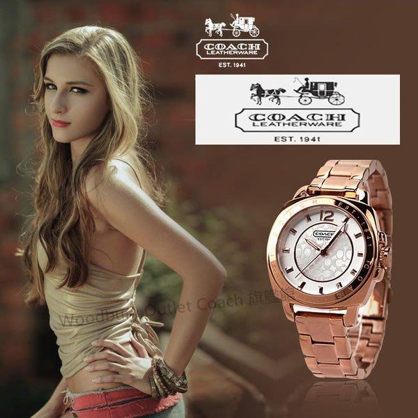 【Woodbury Outlet Coach 旗艦館】COACH 14501547 時尚簡約女士手錶 精鋼 玫瑰金色 美國代購100%正品