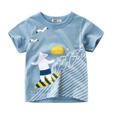 【可愛村】衝浪熊棉感短袖T恤上衣 短袖上衣 童裝 上衣 T恤