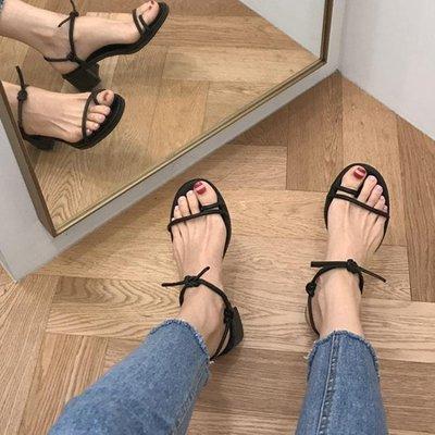 韓版綁帶粗跟中跟羅馬低跟夾趾百搭涼鞋露趾簡約交叉綁帶高跟鞋女