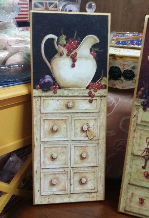 美生活館---全新鄉村生活雜貨--玫瑰 花器 玄關櫃  木質仿磨砂感 掛飾  壁飾/掛畫-共有兩款可選