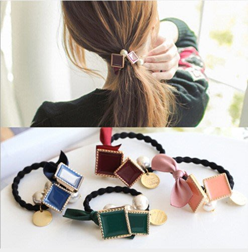 H-033  韓國緞帶蝴蝶結髮圈髮飾