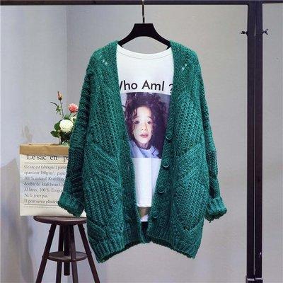 春秋新款韓版寬鬆秋季針織衫中長款毛衣開衫女粗線慵懶風外套