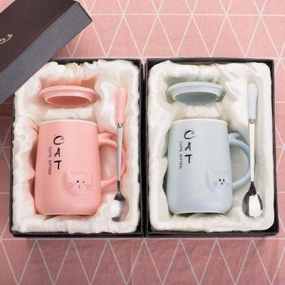 情侶款杯子一對可愛男女陶瓷馬克杯帶蓋勺牛奶咖啡杯聖誕家用水杯