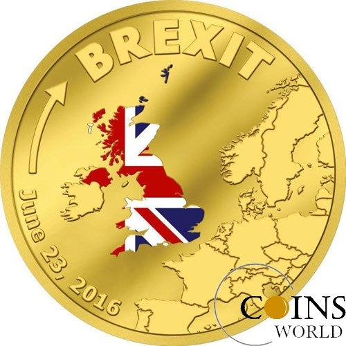 【雅齋】庫克2016年英國退出歐盟紀念1/10盎司精製彩色金幣脫歐 T1199