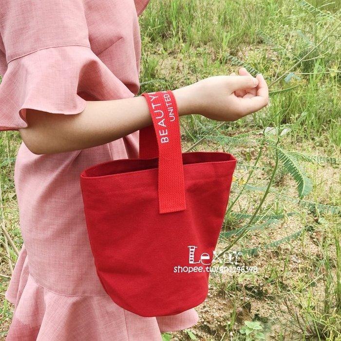 日韓休閒慵懶火焰紅可愛手拎包手提包水桶包帆布環保小包
