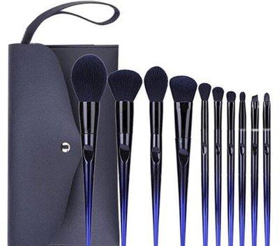 MAKE-UP FOR YOU藍色妖姬10支化妝刷套裝+刷包 紙盒裝 眼影刷 粉底刷 超軟 微晶絲魅惑刷子【 愛來客 】
