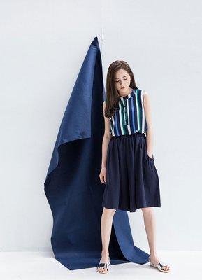 轉賣 [Lemon Drop] 優雅 雙口袋 A擺 A字 寬褲 褲裙 褲子 深藍