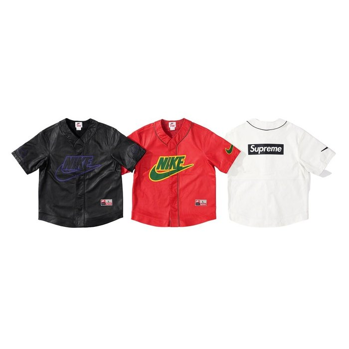 【紐約范特西】預購 Supreme FW19 X Nike Leather Baseball Jersey 皮革 棒球衣
