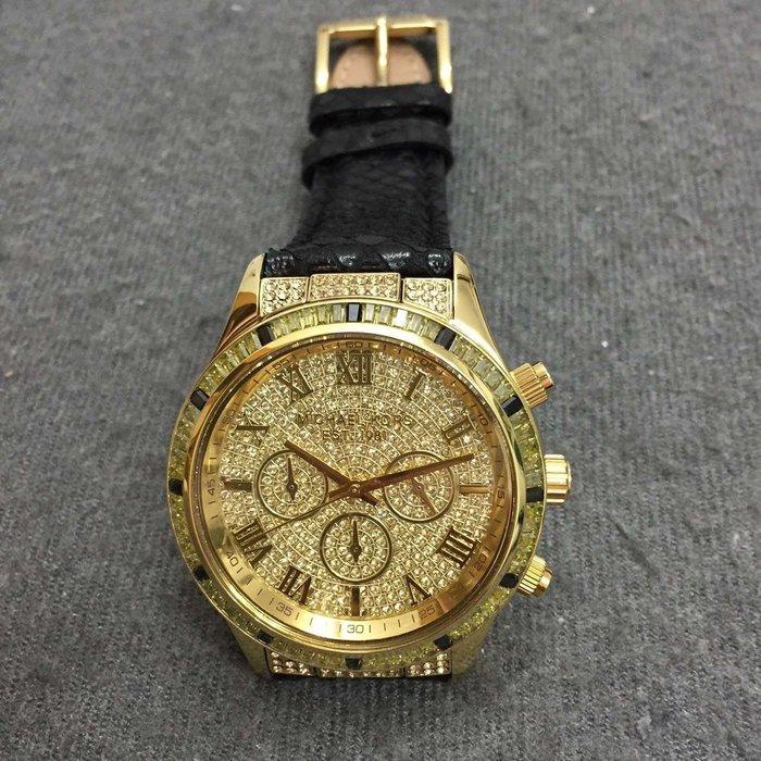 【Michael Kors代購館 】美國正品MK2310 火爆款 最新款蛇紋真皮中性錶 高檔男錶 水晶鑲三眼六針女錶