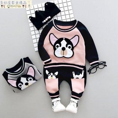 ~多妙屋~童裝男童冬裝新款0-1-2-3-4歲寶寶加厚加絨套裝嬰兒童運動衛衣潮