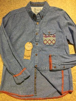 [變身館日本服飾]~QUASH~長袖~襯衫~休閒衫~牛仔~單寧~日本帶回~SMART~全新現品~民族風~出清價