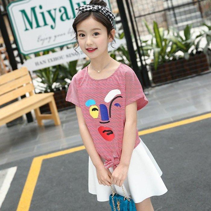 【女童套裝】兒童兩件套 衣服 童裝 純棉條紋套裙 純色短裙 韓版印花短袖T恤 大童 兒童 套裝SF54145