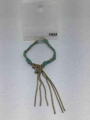 H&M綠色皮革金屬手鍊