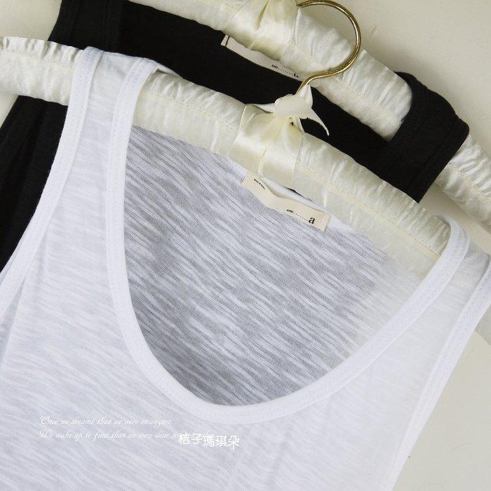 正韓 竹節紋棉背心 超彈性內搭背心(黑、白)~惠衣。桔子瑪琪朵