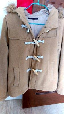800元 下標就賣 品牌Heather連帽日本品牌棕色厚毛料大衣-牛角扣