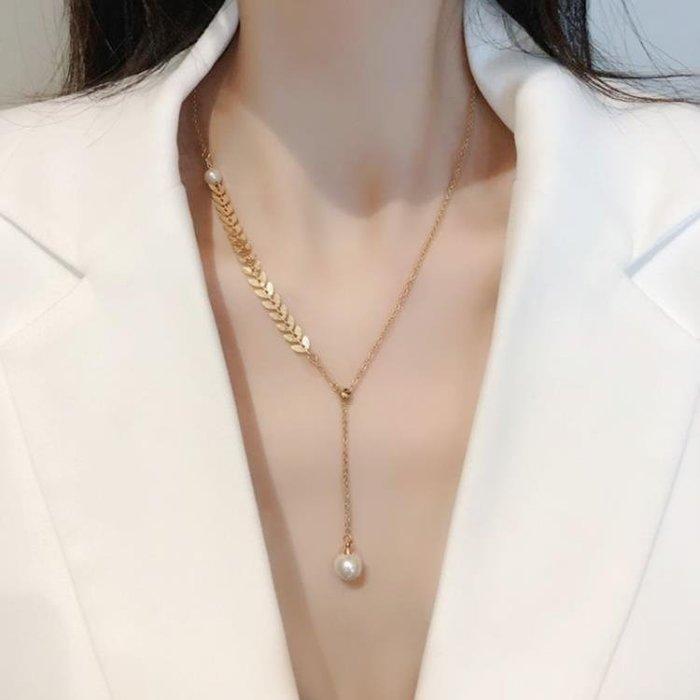韓國歐美簡約18K金色項鏈女網紅毛衣鏈珍珠高級感簡約鎖骨鏈氣質仙氣Pulala