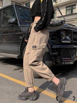 工裝褲 法式女寬鬆帥氣束腳哈倫運動褲春高腰嘻哈褲子潮 -全館免運