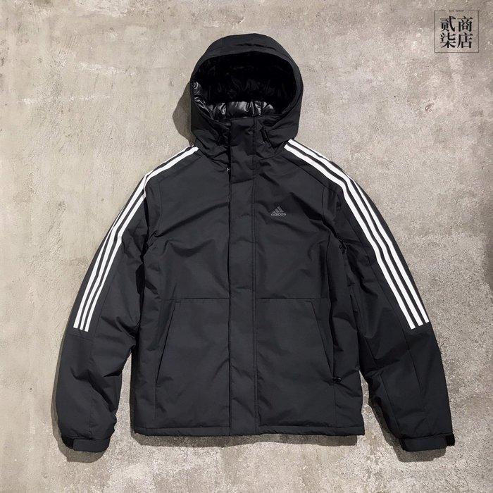 (貳柒商店) adidas 3-Stripes Down Jacket 男款 黑色 羽絨 外套 保暖 三線 EH3995