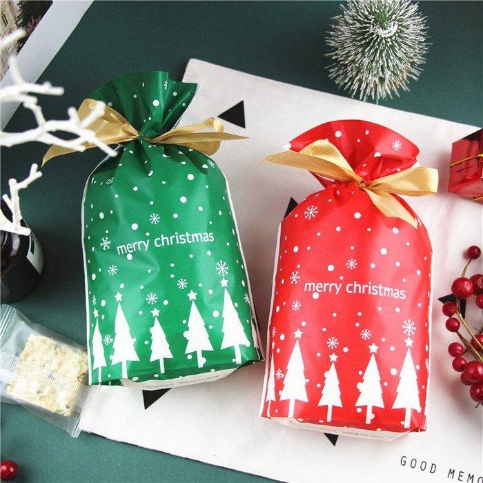 (10入)高質感 聖誕系列禮物袋 束口袋 糖果袋 禮品包裝 交換禮物 自帶金色緞帶