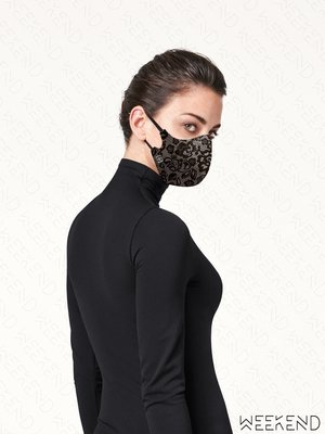 【WEEKEND】 WOLFORD Lace Mask 蕾絲 口罩 黑色