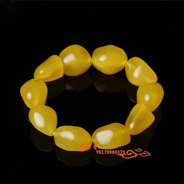 【福寶堂】老蜜蠟手串男女單圈琥珀手鏈桶珠雞油黃首飾圓珠民族風配飾佛珠