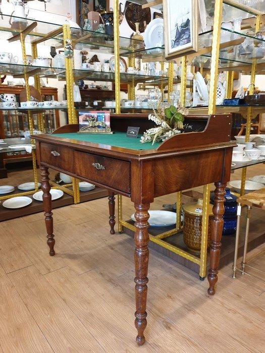 【卡卡頌 歐洲跳蚤市場/歐洲古董】※活動特價※英國老件_桃花心木 雕刻 雙層書桌 櫃台桌 工作桌 提供租借 t0145✬