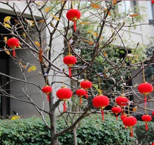 春節燈籠春節新年裝飾品植絨小燈籠掛飾串紅場景布置戶外室內盆景過年掛件 二度