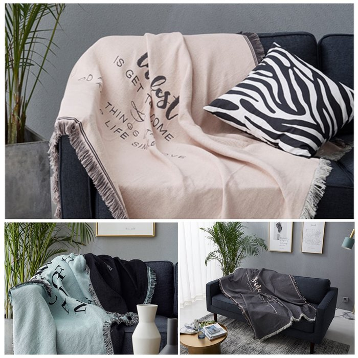 【Uluru 】北歐風格 沙發毯 地毯 毛毯 披肩毯 流蘇毛毯 多功能毛毯 休閒毯 薄毯 編織毛毯 線毯