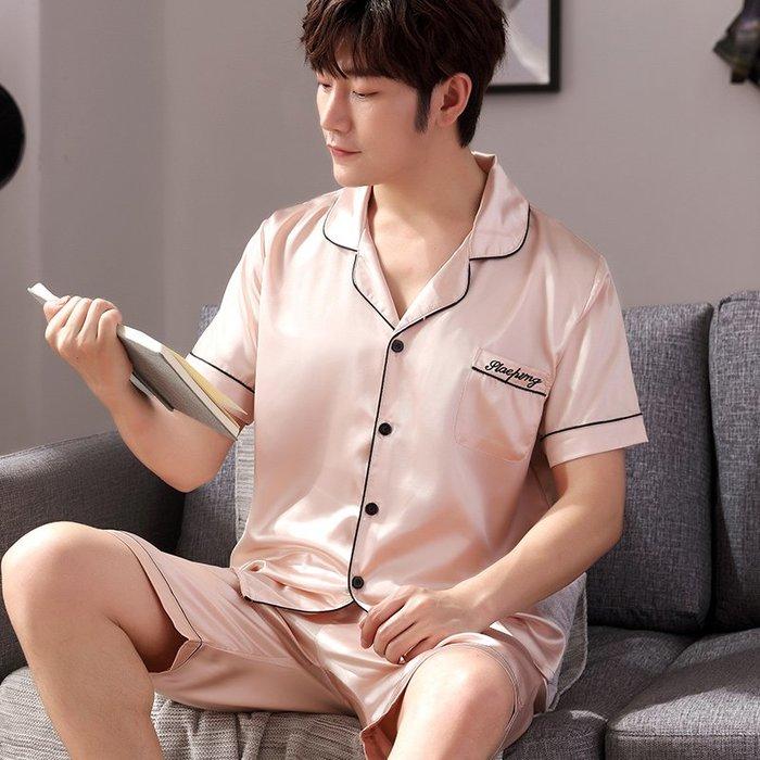 爆款--男韓版夏季開衫絲綢薄款大碼家居服睡衣絲質薄款短袖短褲兩件套裝#睡衣#休閒#套裝#清新