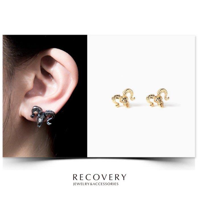 美國東村【Recovery】Argali Skull Earring 羊頭骨 耳環 ( 亮金 / 古銀 )