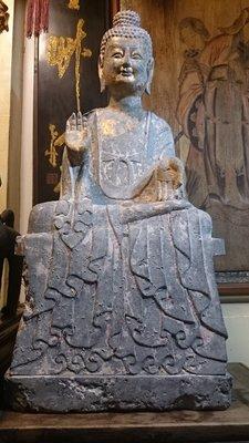 【紅蓮賞翫】 早期收藏 北魏漆金石雕佛像(85cmx40cm)