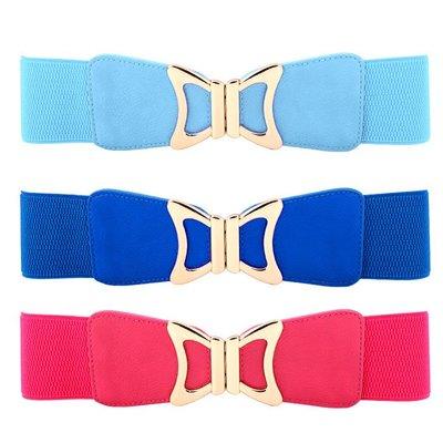 腰封皮帶 素色 蝴蝶結 鬆緊 彈性 對釦 百搭 塑腰 寬版 腰封 腰帶【NR8340】