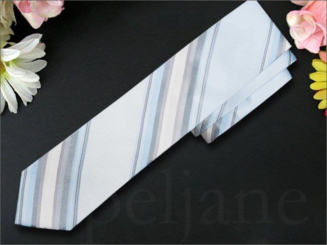 Calvin Klein Tie CK 卡文克萊淺藍色/淺灰色細緻純絲 手打領帶 寬版領帶搭配西裝襯衫 愛Coach包包