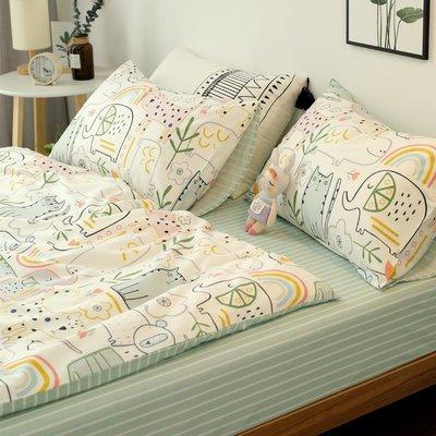 全棉可愛小卡通大象三件套單人雙人純棉小碎花床單被套床上四件套 (規格不同價格不同)