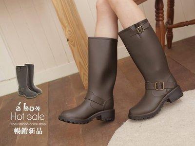 格子舖*【AR887】愛上下雨天 復古簡約騎士風消光霧面長筒雨靴機車靴 2色