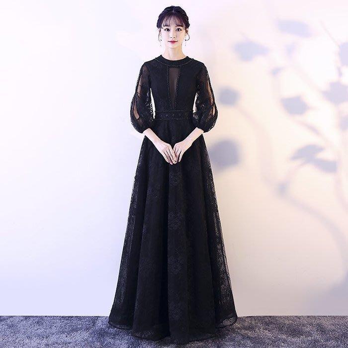 大小姐時尚精品屋~~黑色公主主持人名媛宴會聚会新娘婚纱長禮服~3件免郵