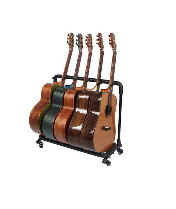 ~全新~移動式滑輪5支吉他架/吉他架/電吉他架/Bass/ 電貝斯架/琵琶架(練團室/錄音室好物)穩固管架,泡棉覆管