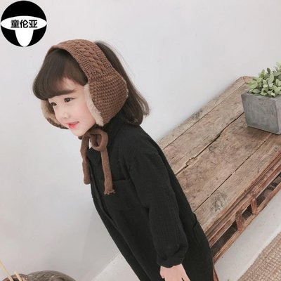 秋冬兒童麻花護耳套保暖綁帶耳罩