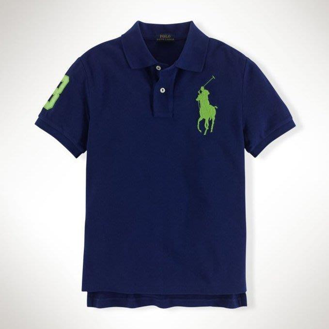 美國百分百【Ralph Lauren】Polo 衫 RL 短袖 網眼 大馬 上衣 深寶藍 綠馬 男款 XS號 B003