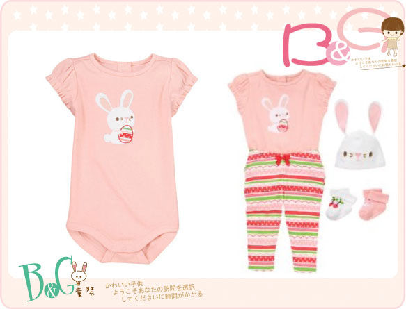 【B& G童裝】正品美國進口GYMBOREE兔子圖樣粉紅色短袖連身衣6-12mos