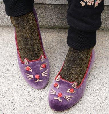 Charlotte Olympia Kitty Studs slipper 貓咪鞋 紫絨 現貨
